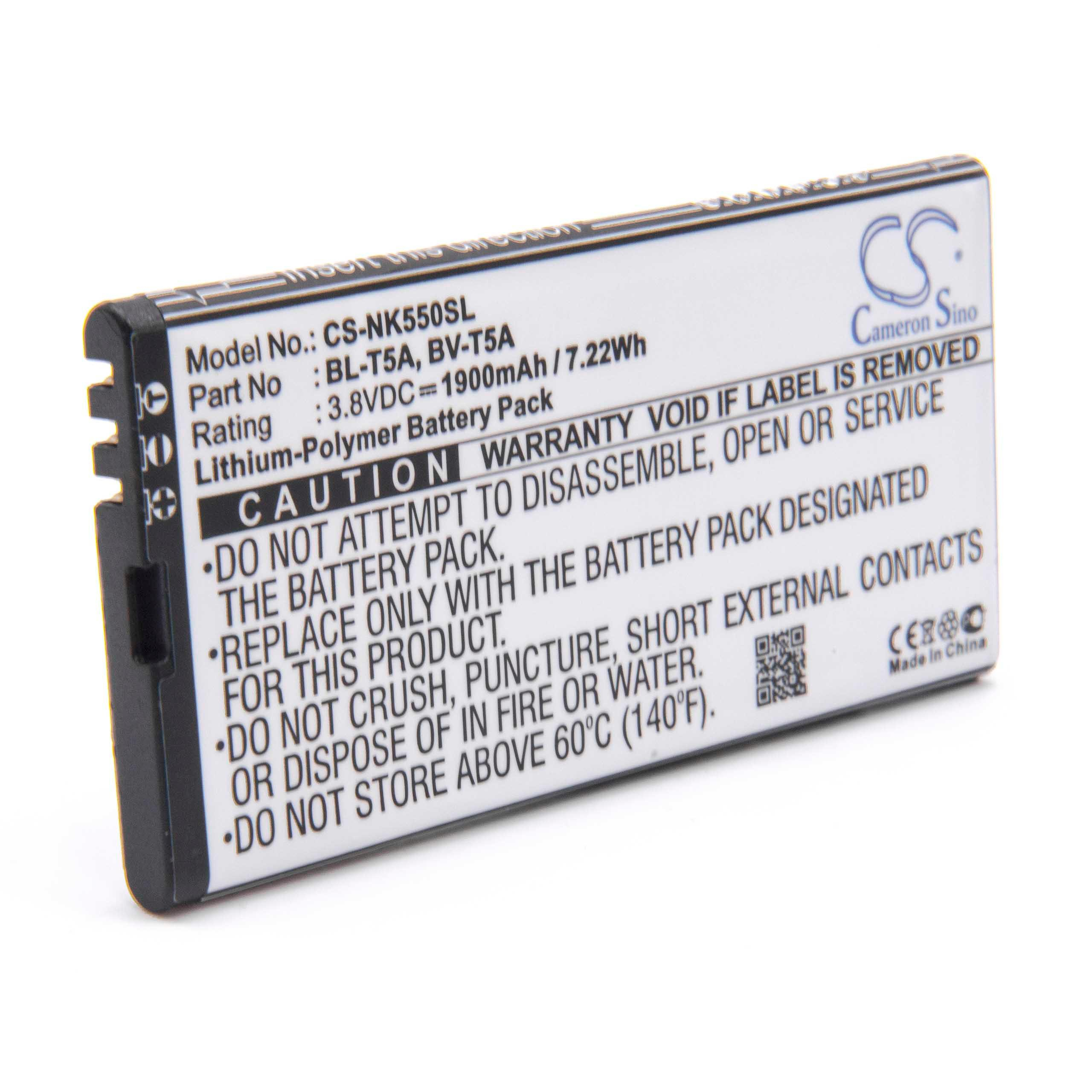 Li-Ion-battery- 1900mAh (3 85V) for mobile phone smartphone phone replaces  Nokia BL-T5A, BV-T5A