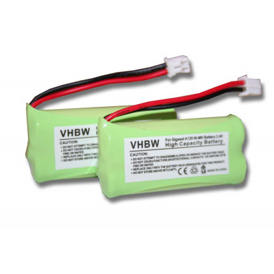 2 x NiMH-battery- 700mAh (2.4V) - suitable for wireless landline phone replaces 220382C1, 220436C1, 41AAAH2BMX, 55AAAHR2BMX, C30852D1640X1