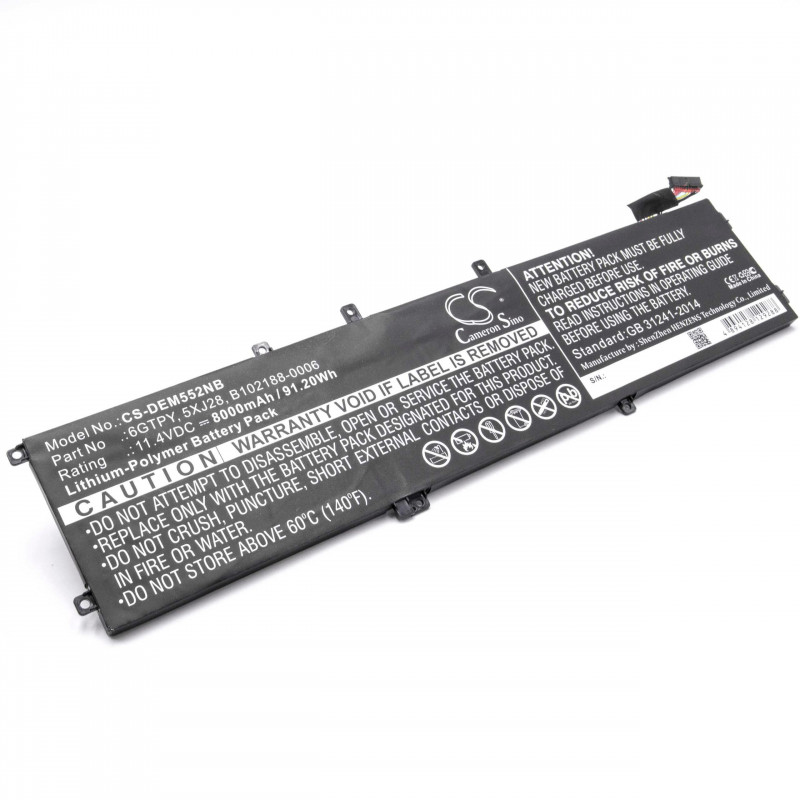 battery suitable for Dell XPS 15 9560 laptop (8000mAh, 11 4V, Li-Polymer)