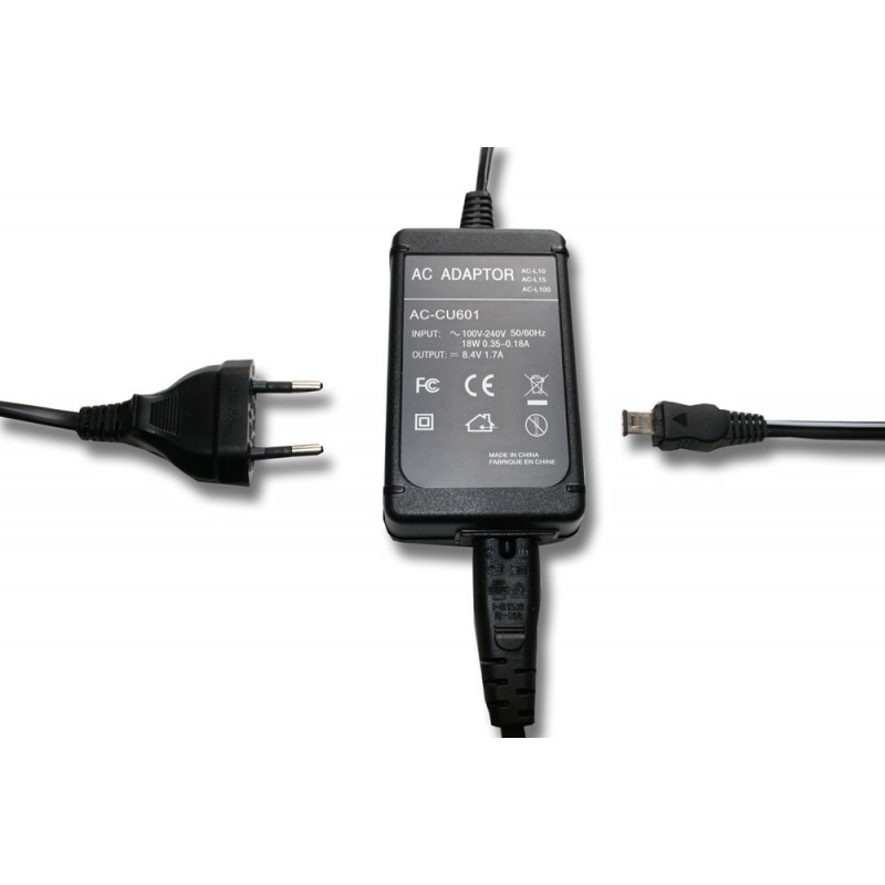 EU Mains Power Adapter replaces Sony AC-L10 for Camera, Video Camera, DSLR,  Camcorder
