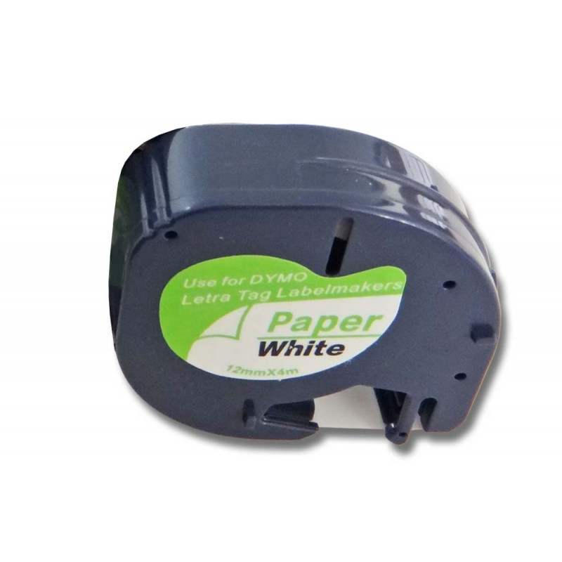 label tape black on white for Dymo LetraTag LT-100H label printer 12mm